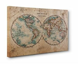 Vintage map of the world hemispheres box canvas print wall art image is loading vintage map of the world hemispheres box canvas gumiabroncs Choice Image