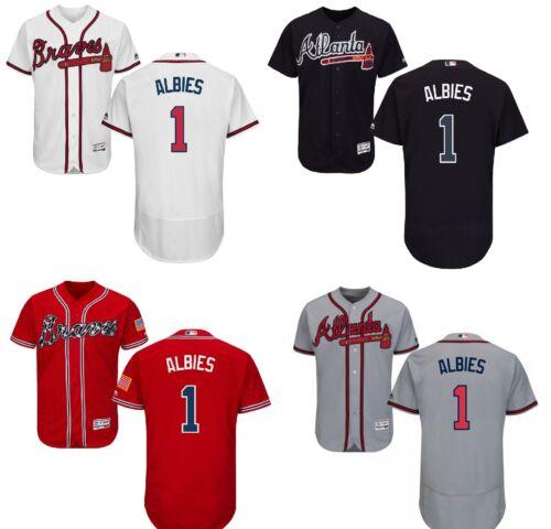 Men's Atlanta Braves #1 Ozzie Albies Flex Base Player Jersey Stitched