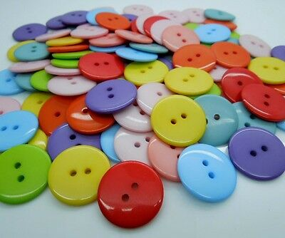 100 Pcs Random Mixed Round 2 Holes Resin Sewing Buttons 23mm Dia. Knopf Bouton