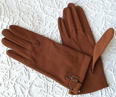 Vintage ladies nylon gloves 1950s UNUSED Portuguese tan Buckle 6 1/2 7 7 1/2