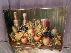 Tableau huile sur toile Nature Morte aux fruits signée Eugène Wentzinger