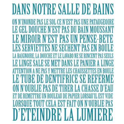 """../"""" Sticker Décoration Mural Texte /""""Dans notre Salle de Bains de 30 à 100 cm"""