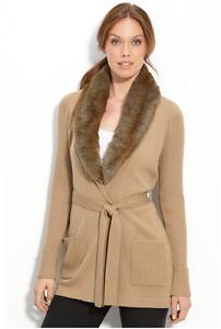 Trina Turk 100% 100% 100% Merino Cardigan Sweater Camel Beige Removable Faux Fur Collar 56d881