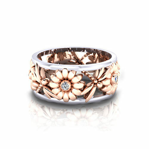 White Topaz 18K Rose Gold Plated Wedding Engagement Flower Jewelry Gifts Ring