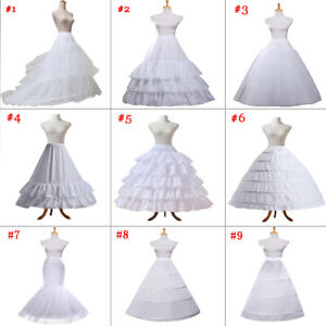 Women White Bridal Petticoat Hoop Skirt Crinoline Slip Wedding Gown Underskirt