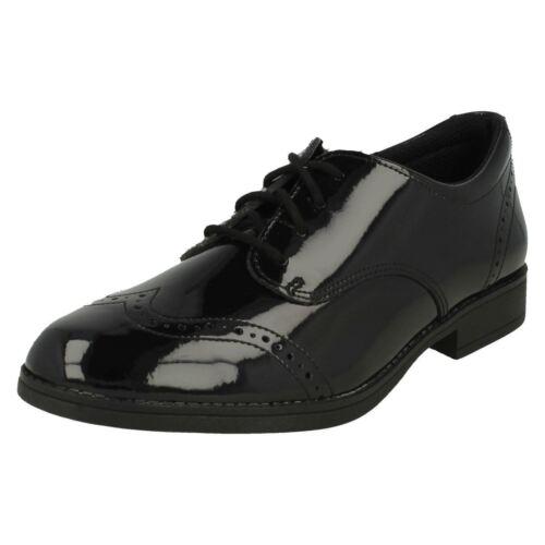 Niña Cordones Zapatos Clarks O Negro Escuela Sami Cuero Charol Andar 6q4FP