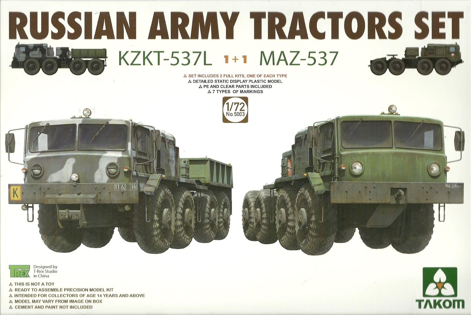 Takom 1 72 KZKT-537L & MAZ-537  Russian Army Tractor Set