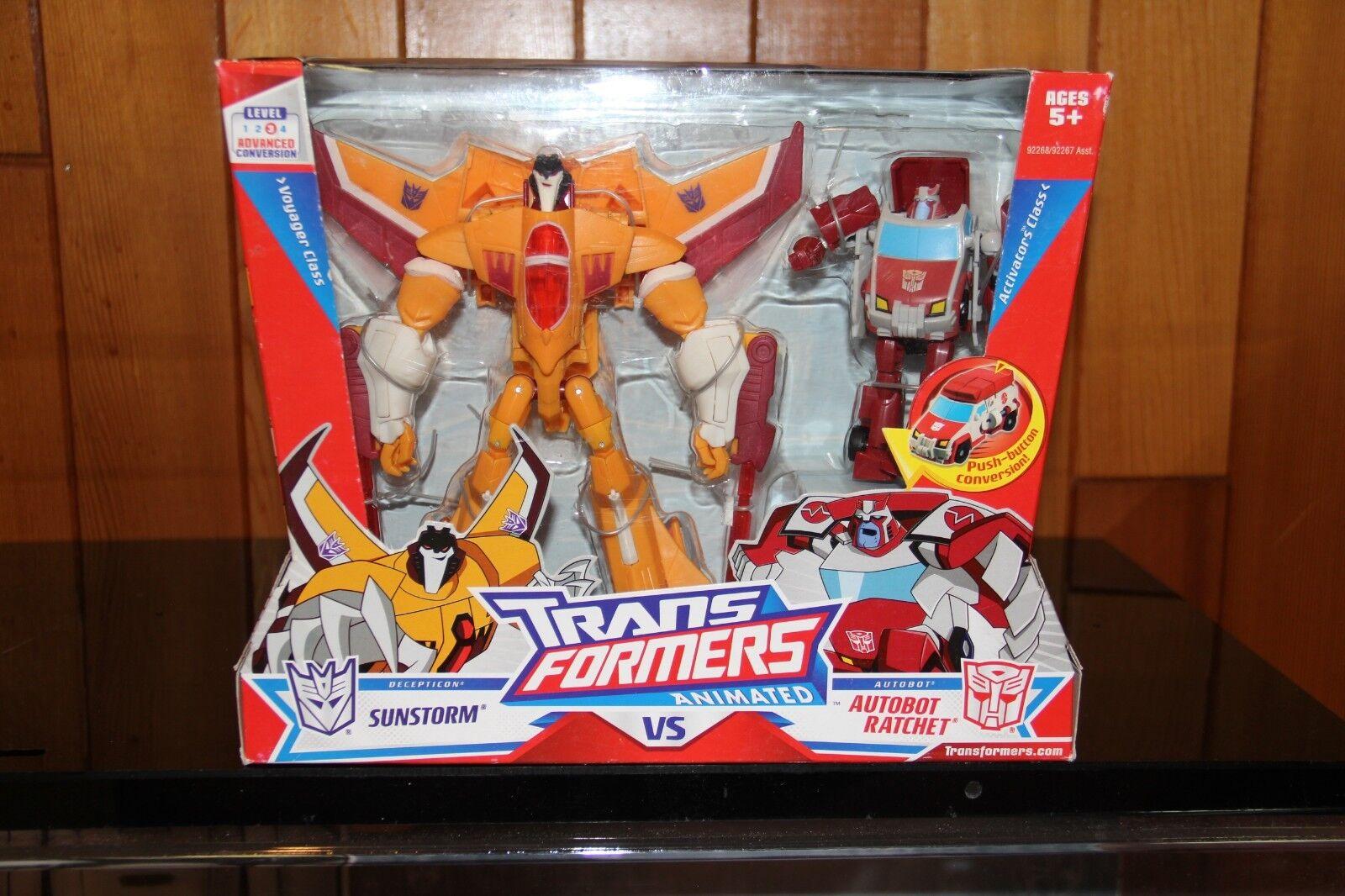 Hasbro Transformers Animated Sunstorm VS Autobot Rachet Target Exclusive