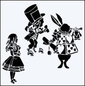"8/"" White Rabbit /& Mad Hatter durable  190mm Mylar 6/"" 12/"" Stencil *NEW* Alice"