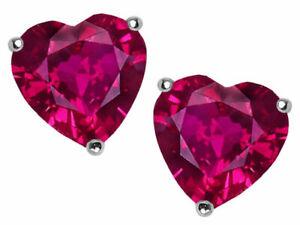 2 ct. Heart Ruby Stud Earrings in Sterling Silver ~ JULY BIRTHSTONE