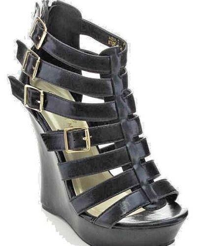 Women/'s Black Vegan  Leather Wedge Platform Gladiator Heels
