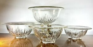 4-PCS-VTG-1940-s-Federal-Glass-Star-Clear-Rolled-Rim-Footed-Nesting-Mixing-Bowls