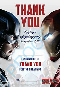 Captain America Civil War Pack Of 10 Thank You Cards Kids