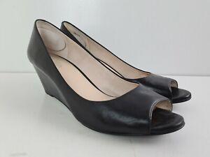 Wittner Black Leather Peep Toe WONDAS Classic Wedge Heel Women's Size EU41 10.5