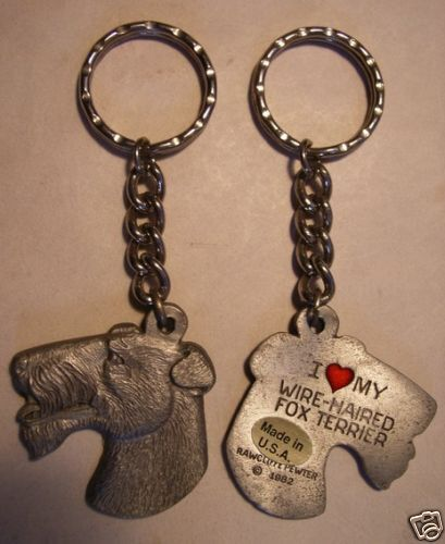 """PEWTER KEY CHAIN/""""  NEW PEWTER  /""""I LOVE MY  W//H FOX TERRIER"""