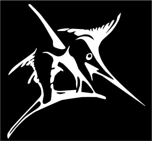 WHITE Vinyl Decal Marlin fish outline salt water deep sea fishing boat country