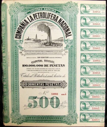 la Petrolifera Nacional 1928 Spanish bond Nacional Company Petroliferous Cia