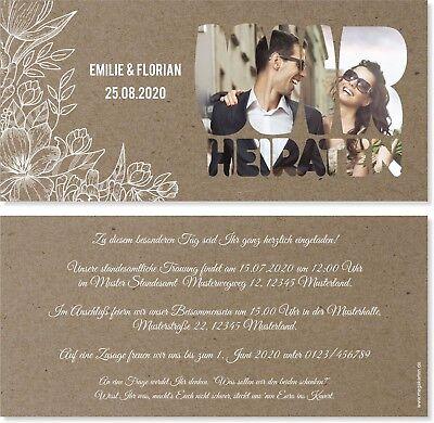 Intellektuell Einladungskarten Hochzeit Hochzeitskarten Vintage Kraftpapier Foto Mit Druck Hochwertige Materialien