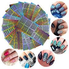 Lot 24Pcs / Sheet Nail Art Manicure Stencil Stickers Nails Stamping Vinyls DIY