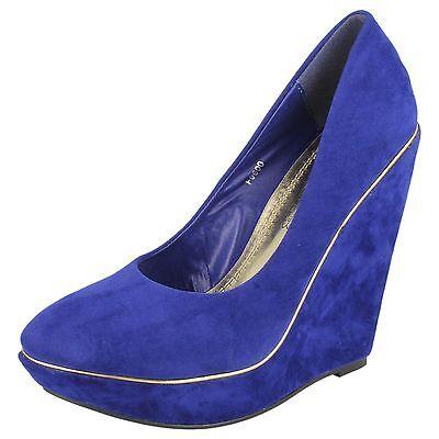 Mujer Ajustadas Ante Azul Tacón Plataforma Zapatos SIN CIERRES F9600