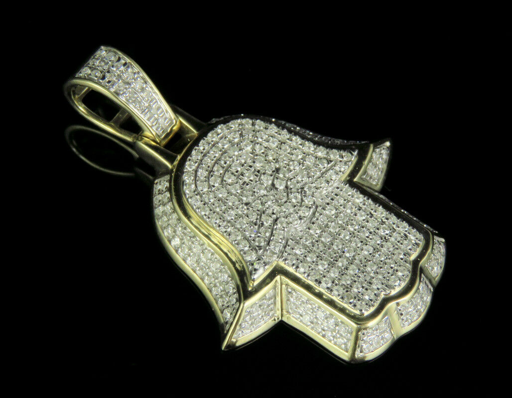 Men's 10K Yellow gold Real Diamond Pave 3D Hamsa Hand Pendant Charm 3 5 CT 1.5