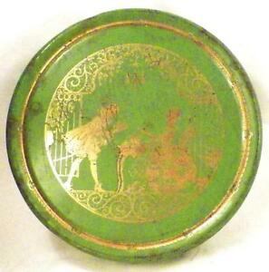 Vintage-Tin-Colonial-Man-amp-Woman-At-Tea-Green-Gold-Biscuits-Cookies-As-Is