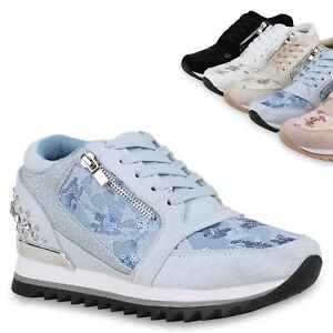 Damen Sneaker Keilabsatz Schuhe Wedges Glitzer Keilsneaker 831470 Trendy Neu