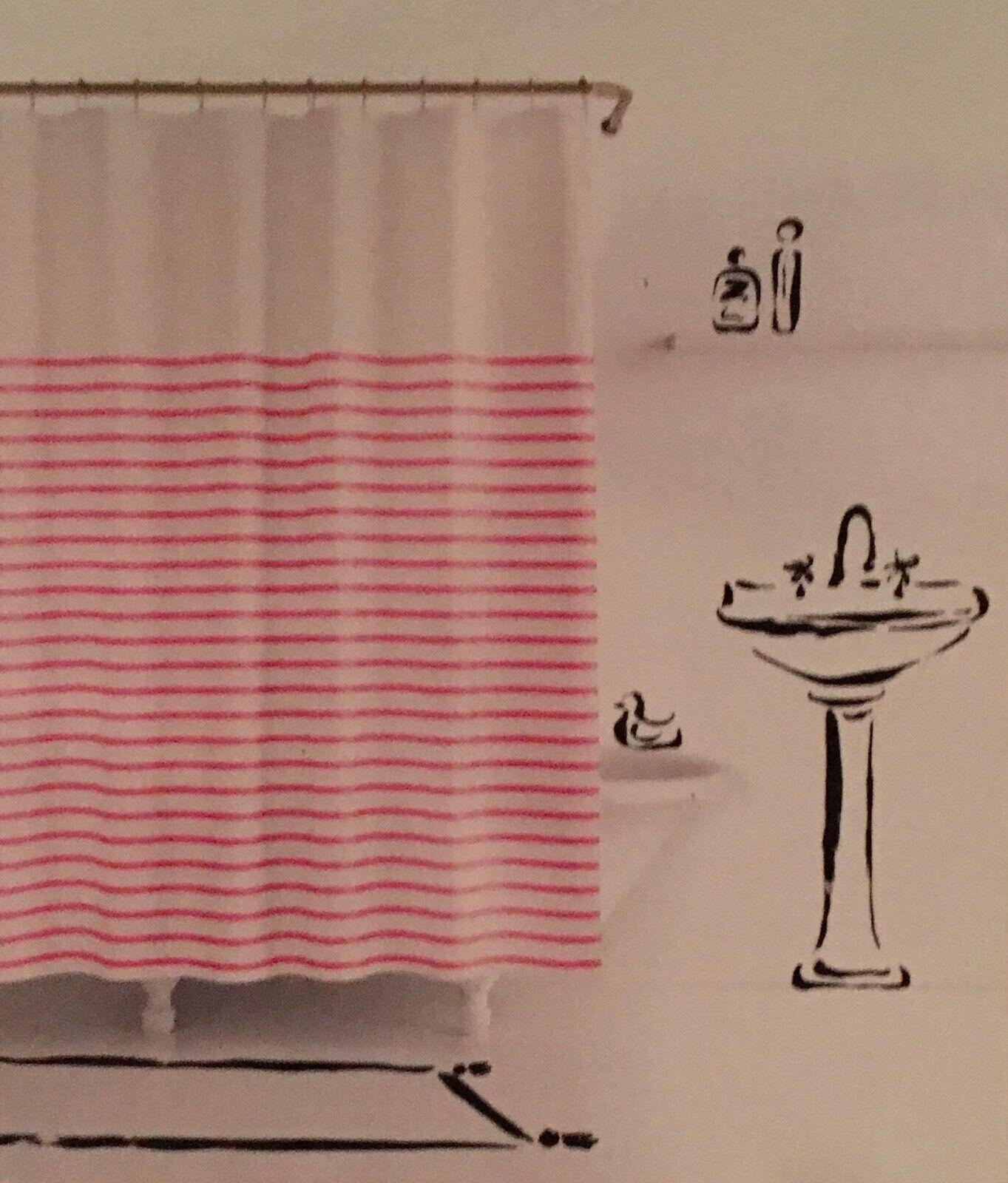 Kate Spade Shower Curtain Harbour Stripe Pink Fuchsia White New