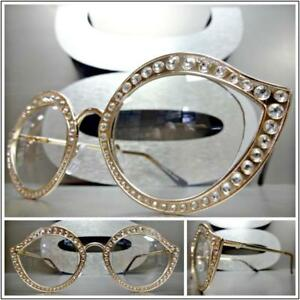 5c996741fd1 New CLASSIC VINTAGE RETRO Style Clear Lens EYE GLASSES Bling ...