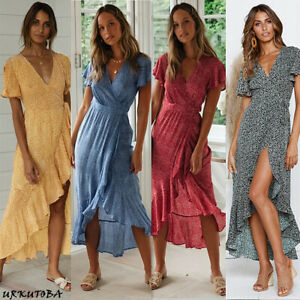 Women-Wrap-Summer-Boho-Floral-Paisley-Maxi-Print-Dress-Ladies-Holiday-Beach