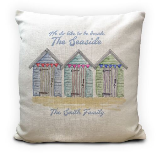 """Personalised Beside the Seaside Beach Huts Cushion Cover Family Surname 16/"""""""