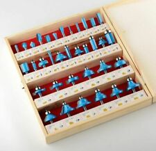 14 Shank Router Bit Set 35 Piece Carbide Tip Ball Bearing With Wood Case New