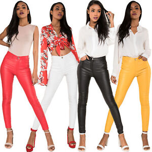 Women-Leather-Look-Trousers-High-Waist-Faux-Skinny-Pants-Pants-Stretch-Leggings