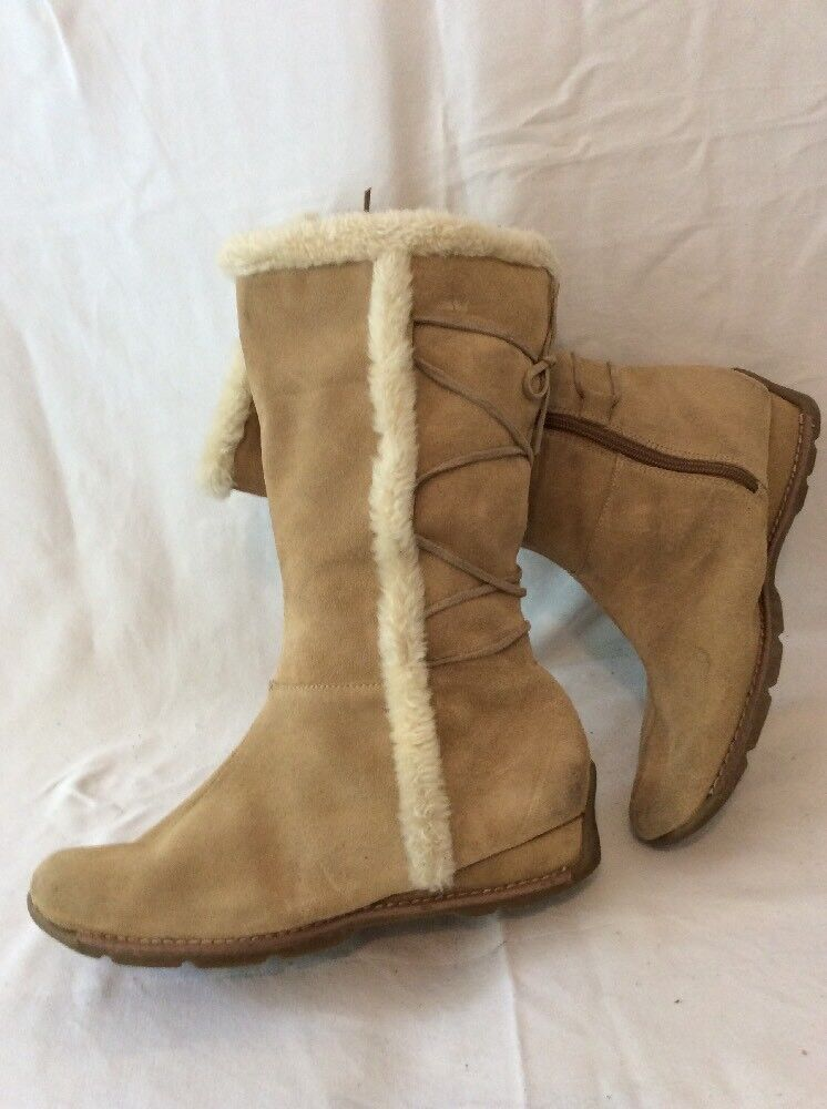 Bhs Brown Mid Calf Suede Boots Size 6