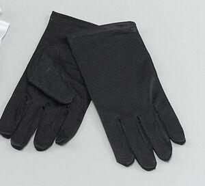 Childrens Black Short Gloves Captain Clown Magician Fancy Dress 1920s New