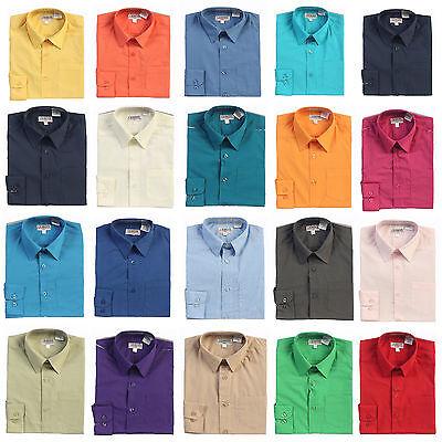 New Gioberti Kids Little Boys Solid Long Sleeve Dress Shirts