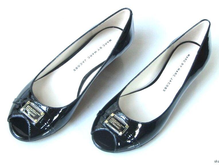 Nuevo Marc Jacobs Negro Sin Puntera Zapatos de cuña cuña cuña pequeño logotipo de ID f457c9