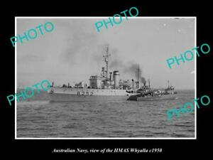 OLD-POSTCARD-SIZE-PHOTO-OF-AUSTRALIAN-NAVY-SHIP-HMAS-WHYALLA-c1950