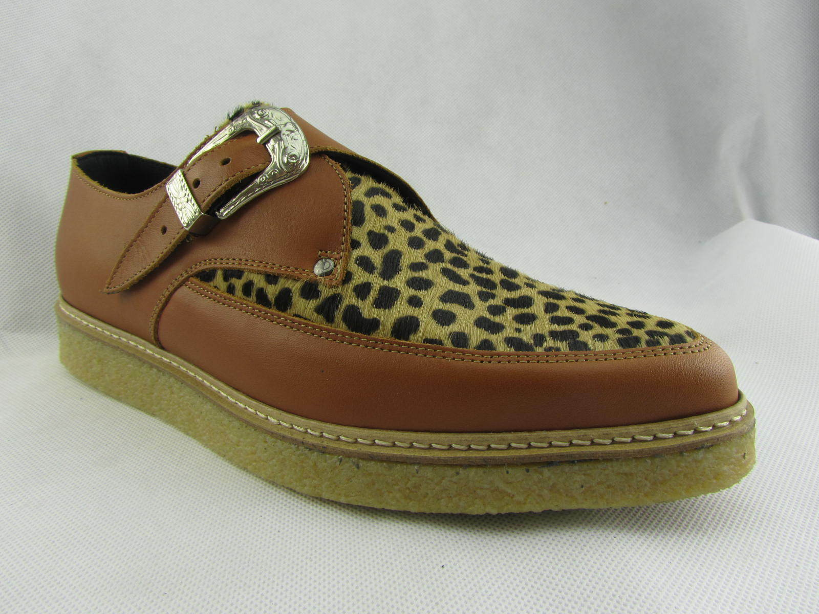 Steel Ground New Shoes Tan Leather Buckle Creepers Creepers Creepers Monk Leopard Pointed Toe d95014