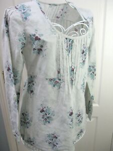 Mistral-Floral-100-Cotton-Tunic-Top-Size-12-Boho-Summer-Casual-Floral-Smock