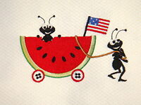 Ants Pulling Their Watermelon Lunch Embroidered Kitchen Towel