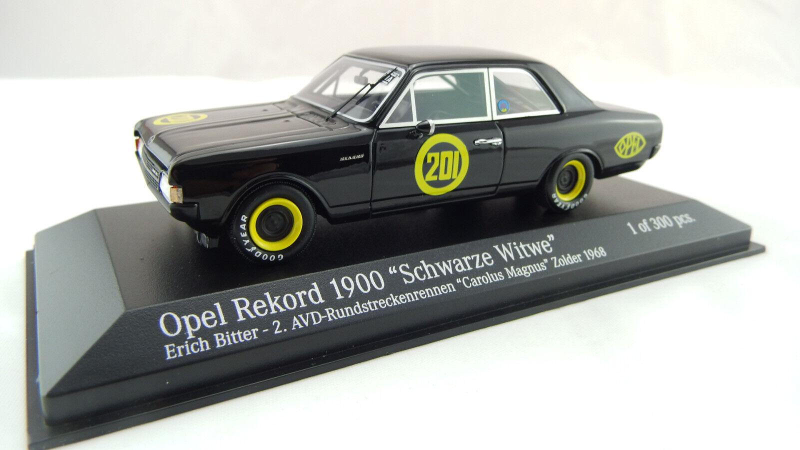 Minichamps 1 43 Opel Rekord 1900 Schwarze Witwe Erich Bitter 437684601 Neu OVP    Vorzügliche Verarbeitung