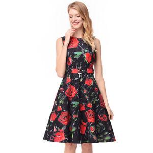 Detalles De Elegante Vestido Traje Corto Negro Flores Verano Columpio Cómodo 4319