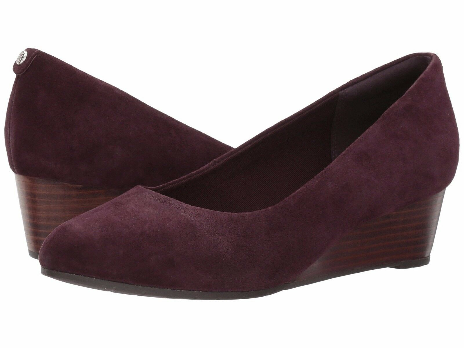 Women's shoes Clarks Vendra Bloom Classic Pump Wedges 29118 Aubergine Suede New