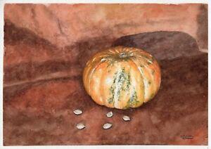 Still-Life-With-Pumpkin-original-watercolor-vegetable-painting-vegan-kitchen-art