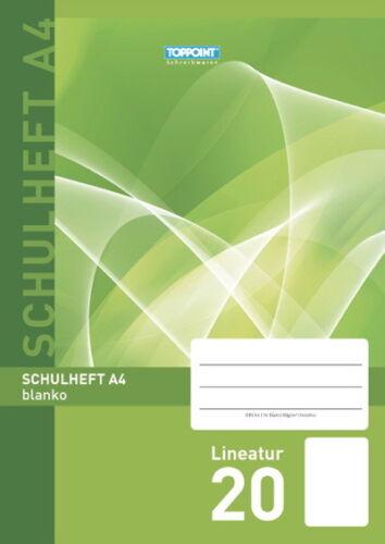 3 Schulhefte DIN A4 Lineatur 20 blanco