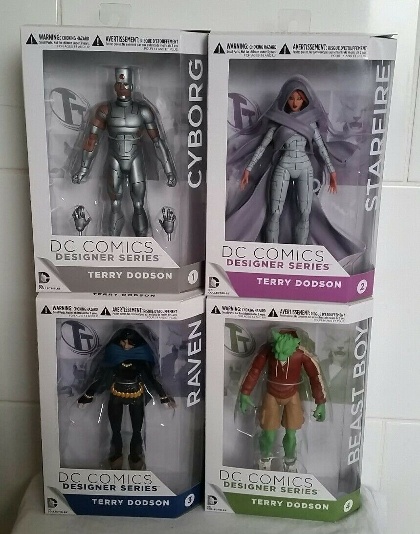 Dc comics  wesentliche cyborg, sternenfeuer, rabe & tier junge action - figuren