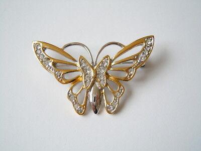 Audacious Modeschmuck Brosche Mit Klaren Strass Steinen Schmetterling 6,3 G/4,2 X 2,7 Cm Jewelry & Watches Pins & Brooches