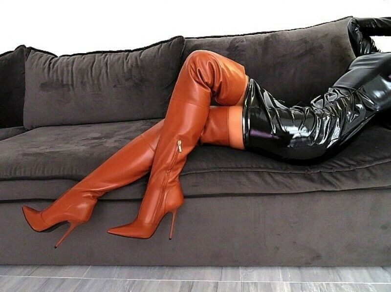 2019 Pointy Toe High Stiletto Heel Womens Over Knee Boot shoes Zip Leather