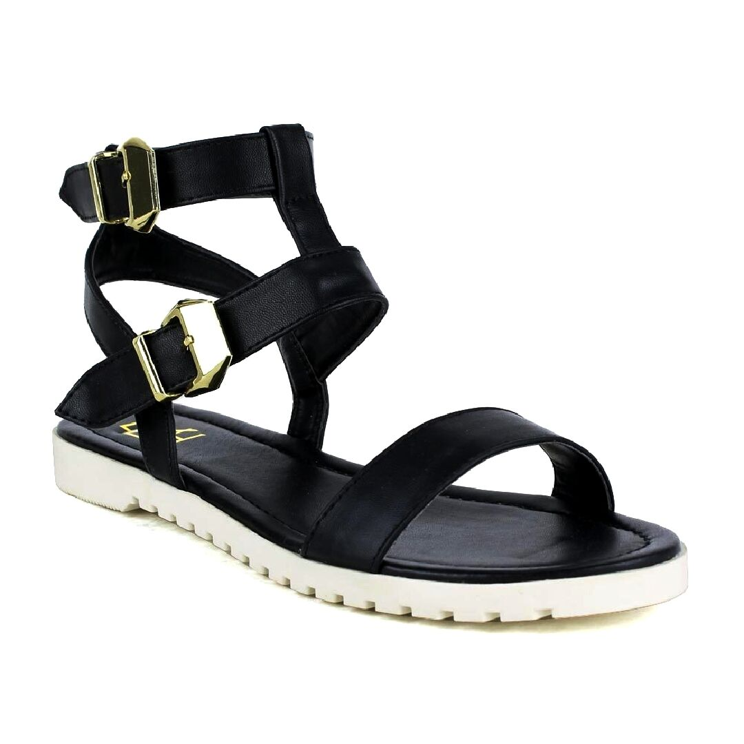 FAHRENHEIT POLLY-01 Women's Ankle Open Toe Double Band Ankle Women's Flat Heel Casual Sandals 31be04